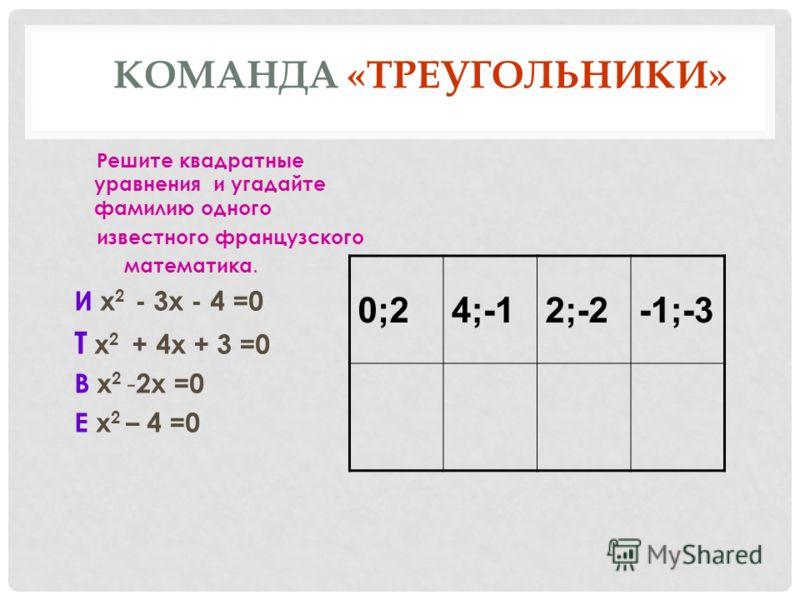 КОМАНДА «ТРЕУГОЛЬНИКИ» Решите квадратные уравнения и угадайте фамилию одного известного французского математика. И х 2 - 3х - 4 =0 Т х 2 + 4х + 3 =0 В х 2 - 2х =0 Е х 2 – 4 =0 0;24;-12;-2-1;-3