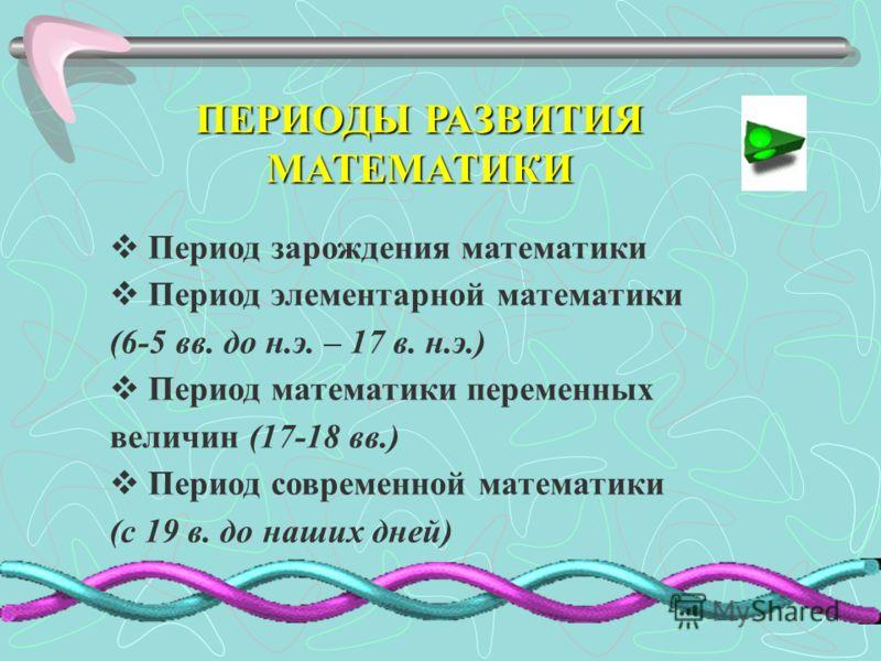 ПЕРИОДЫ РАЗВИТИЯ МАТЕМАТИКИ Период зарождения математики Период элементарной математики (6-5 вв. до н.э. – 17 в. н.э.) Период математики переменных величин (17-18 вв.) Период современной математики (с 19 в. до наших дней)