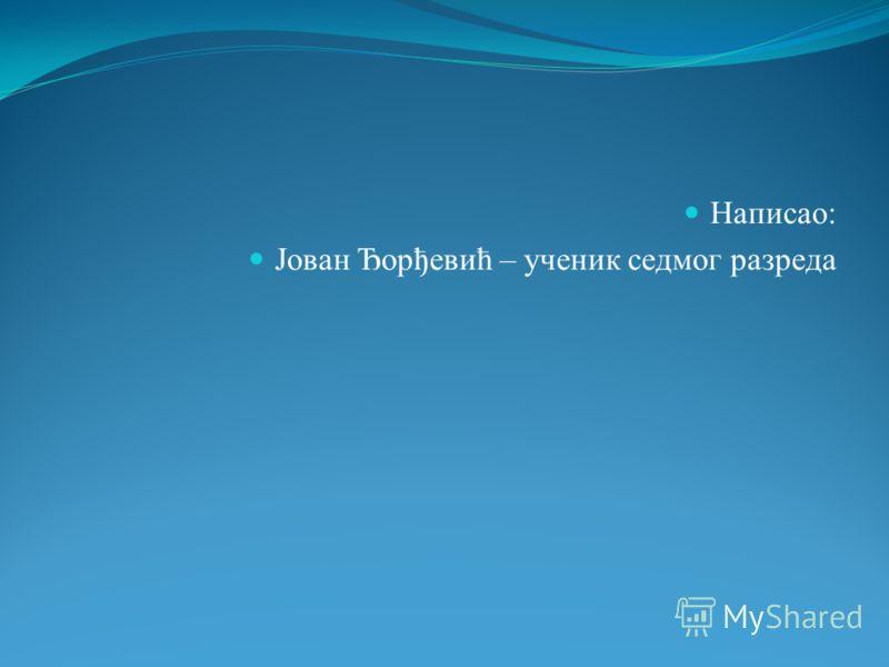 Написао: Јован Ђорђевић – ученик седмог разреда
