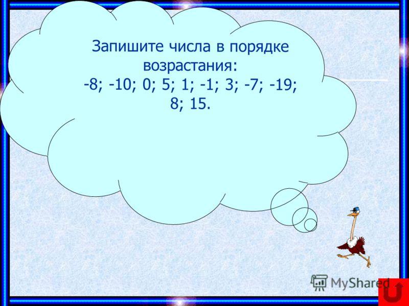 Запишите числа в порядке возрастания: -8; -10; 0; 5; 1; -1; 3; -7; -19; 8; 15.