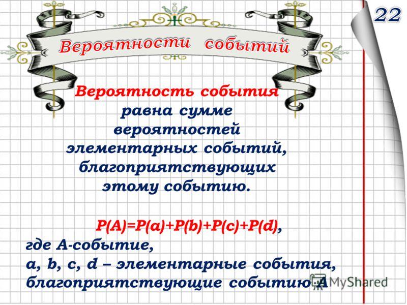 Вероятность события равна сумме вероятностей элементарных событий, благоприятствующих этому событию. P(A)=P(a)+P(b)+P(с)+P(d), где А-событие, а, b, c, d – элементарные события, благоприятствующие событию А