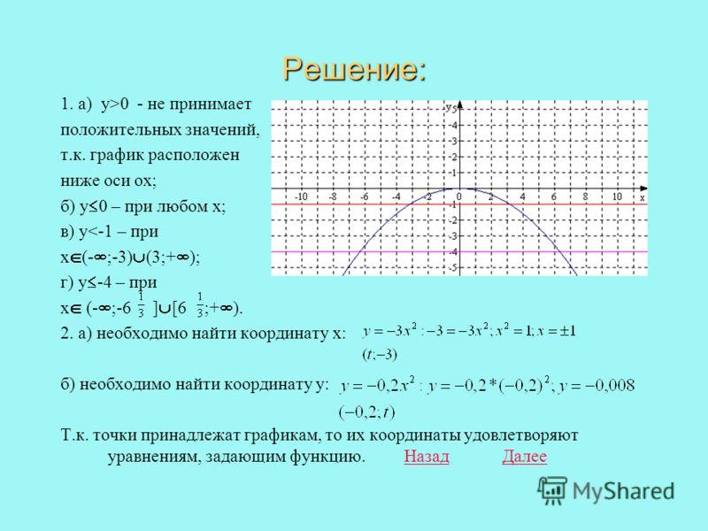 1. Постройте график функции и определите с помощью графика при каких х: а) у>0; б) у 0; в) у< -1; г) у -4. (Задание перепишите в тетрадь) Построить 2. Ответы Назад ДалееОтветы НазадДалее Функция Точка принадлежит графику Определите У=( t; -3)t ( -0.2