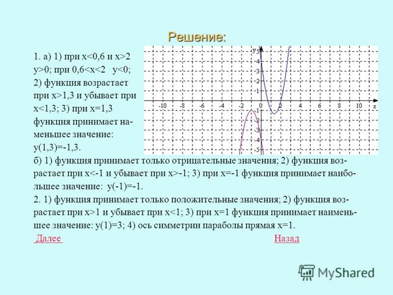 Построить графики функций и по графику: 1) Найти значения х, при которых значения функции положительны ; отри- цательны; 2) найти промежутки возрастания и убывания функции; 3) выяснить при каком значении х функция принимает наибольшее или наименьшее