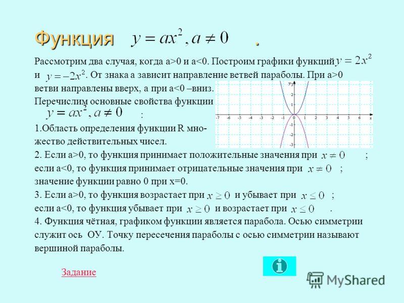 Ответы и решение. 1. а) По графику найдём значение функций при х=1, у(1)=1 и у(1)=3. Ординаты находятся в отношении 3:1, значит а=3. б) По графику найдём значение функций при х=2, у(2)=4 и у(2)=1. Ординаты находятся в отношении 1:4, значит а=¼. 2. а)