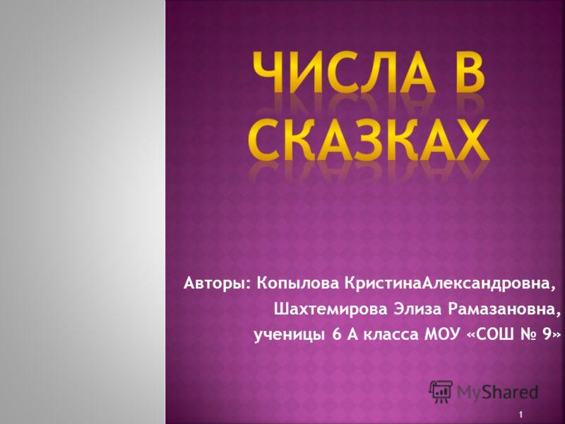 Авторы: Копылова КристинаАлександровна, Шахтемирова Элиза Рамазановна, ученицы 6 А класса МОУ «СОШ 9» 1