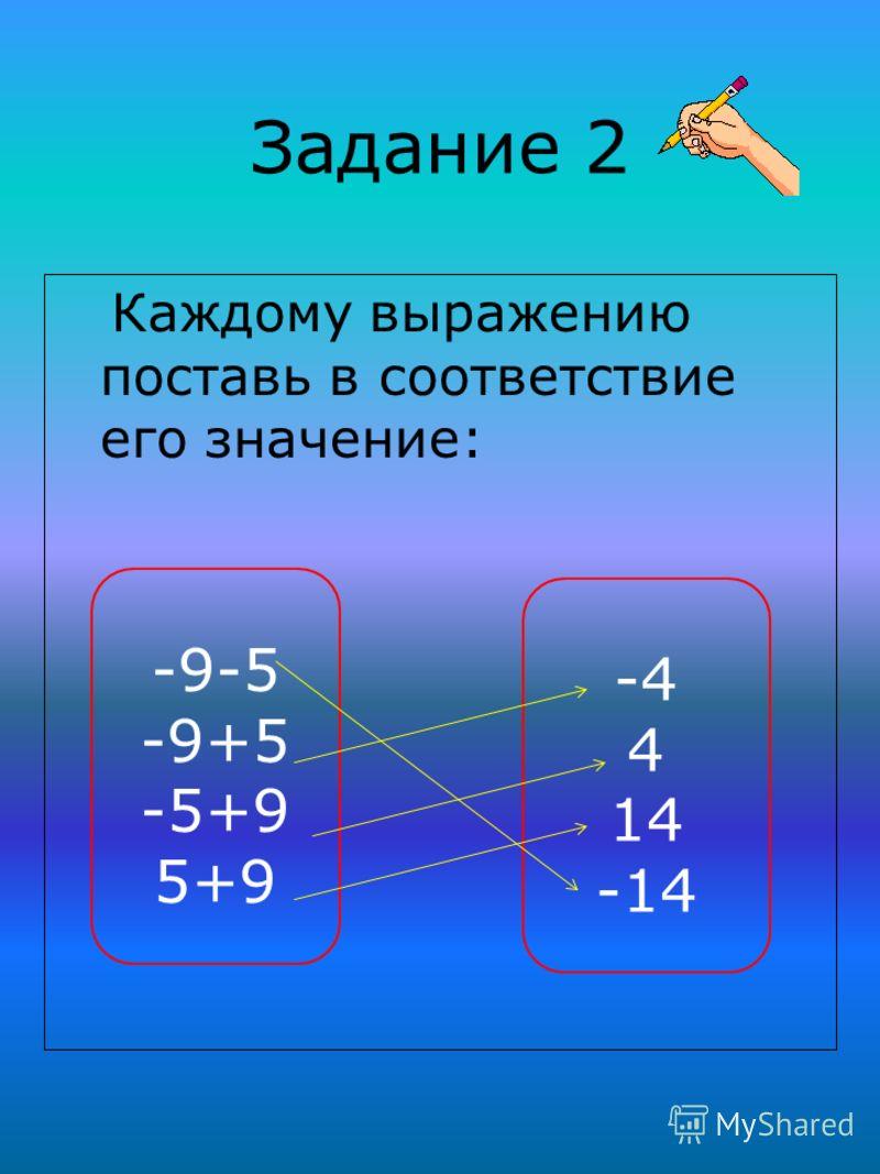 Задание 2 Каждому выражению поставь в соответствие его значение: -9-5 -9+5 -5+9 5+9 -4 4 14 -14