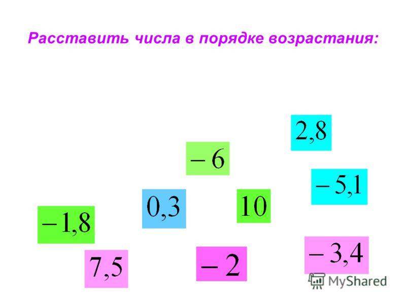 Расставить числа в порядке возрастания:
