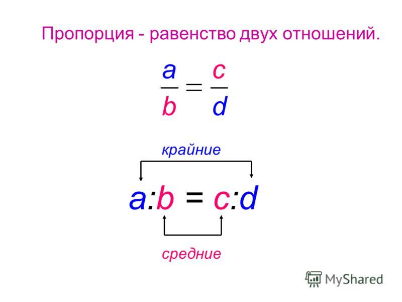 Пропорция - равенство двyx отношений. средние крайние a:b = c:d a b c d