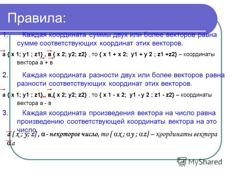 Правила: 1. Каждая координата суммы двух или более векторов равна сумме соответствующих координат этих векторов. a { х 1; y1 ; z1}, в { х 2; y2; z2}, то { х 1 + х 2; y1 + y 2 ; z1 +z2} – координаты вектора а + в 2. Каждая координата разности двух или