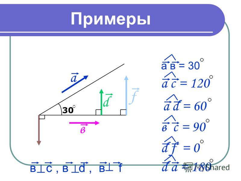 Примеры а в = 30 30 а в d f а с = 120 а d = 60 в c = 90 d f = 0 d a = 180 в c, в d, в f