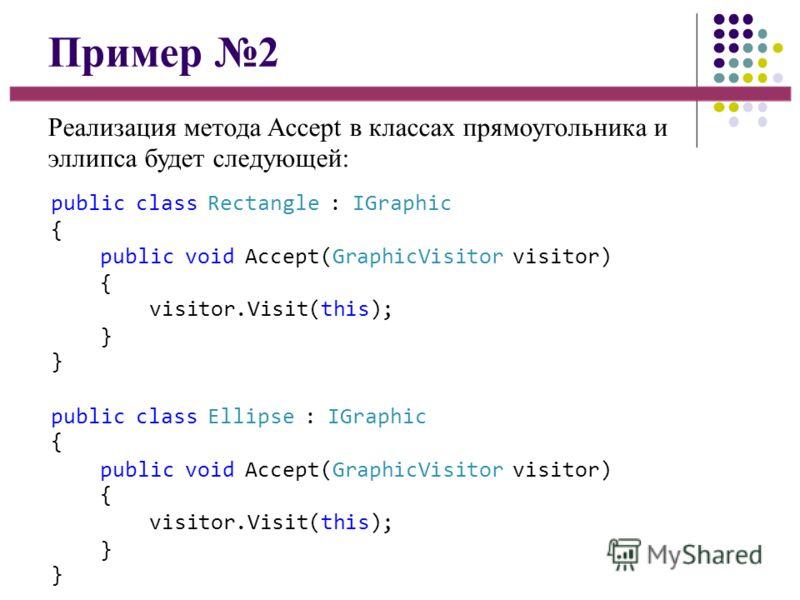 Пример 2 Реализация метода Accept в классах прямоугольника и эллипса будет следующей: public class Rectangle : IGraphic { public void Accept(GraphicVisitor visitor) { visitor.Visit(this); }}}} public class Ellipse : IGraphic { public void Accept(Grap