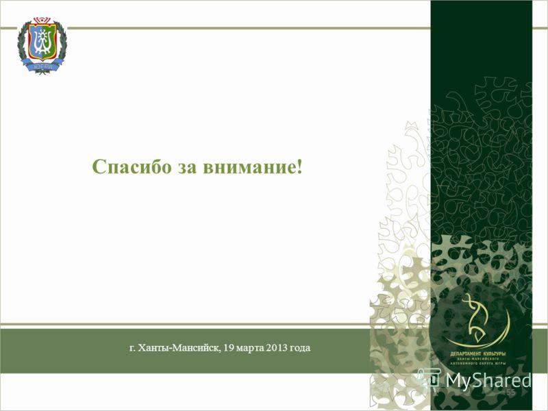 Спасибо за внимание! г. Ханты-Мансийск, 19 марта 2013 года 55