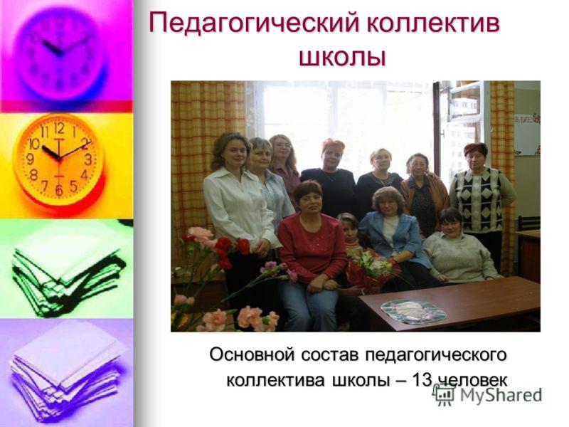 Педагогический коллектив школы Основной состав педагогического Основной состав педагогического коллектива школы – 13 человек коллектива школы – 13 человек