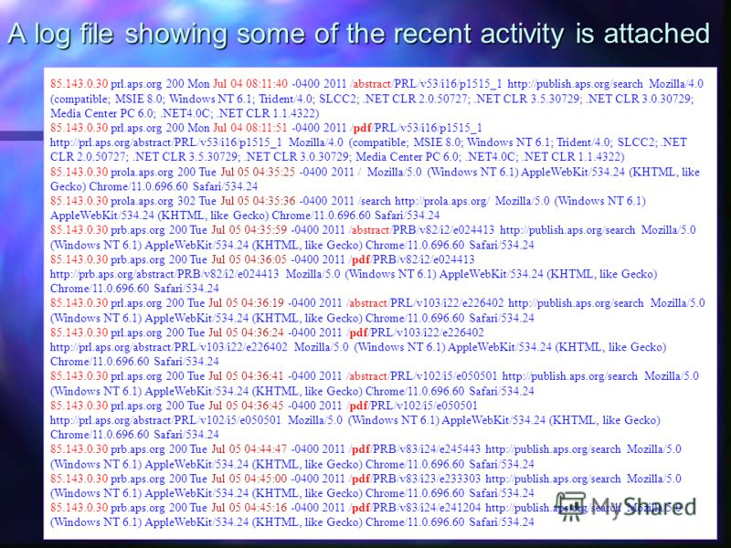A log file showing some of the recent activity is attached 85.143.0.30 prl.aps.org 200 Mon Jul 04 08:11:40 -0400 2011 /abstract/PRL/v53/i16/p1515_1 http://publish.aps.org/search Mozilla/4.0 (compatible; MSIE 8.0; Windows NT 6.1; Trident/4.0; SLCC2;.N