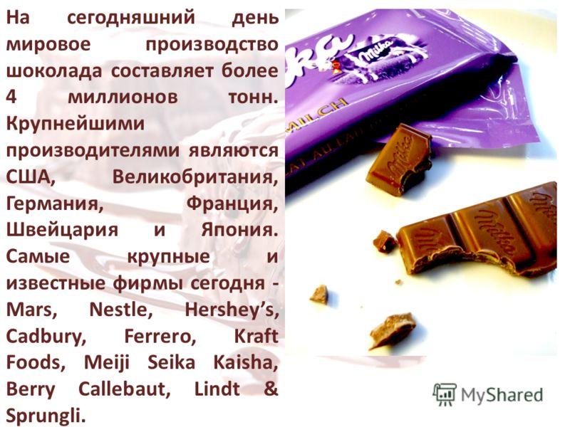 На сегодняшний день мировое производство шоколада составляет более 4 миллионов тонн. Крупнейшими производителями являются США, Великобритания, Германия, Франция, Швейцария и Япония. Самые крупные и известные фирмы сегодня - Mars, Nestle, Hersheys, Ca