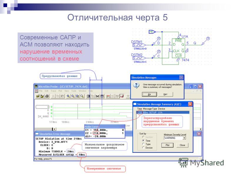 Отличительная черта 5 Современные САПР и АСМ позволяют находить нарушение временных соотношений в схеме