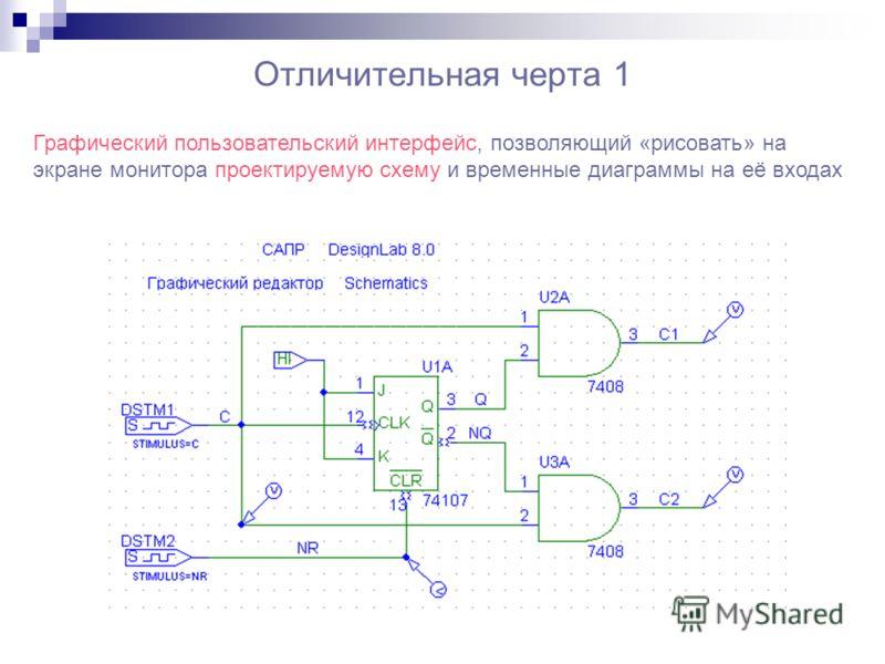 Отличительная черта 1 Графический пользовательский интерфейс, позволяющий «рисовать» на экране монитора проектируемую схему и временные диаграммы на её входах