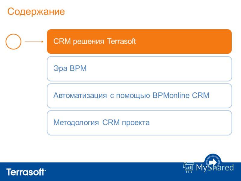 Содержание CRM решения TerrasoftЭра BPMАвтоматизация с помощью BPMonline CRMМетодология CRM проекта