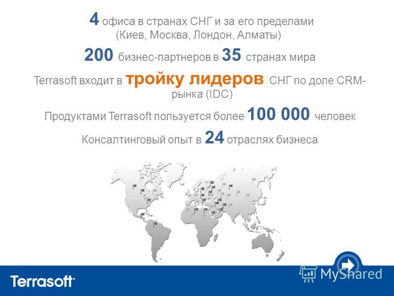 4 офиса в странах СНГ и за его пределами (Киев, Москва, Лондон, Алматы) 200 бизнес-партнеров в 35 странах мира Terrasoft входит в тройку лидеров СНГ по доле CRM- рынка (IDC) Продуктами Terrasoft пользуется более 100 000 человек Консалтинговый опыт в