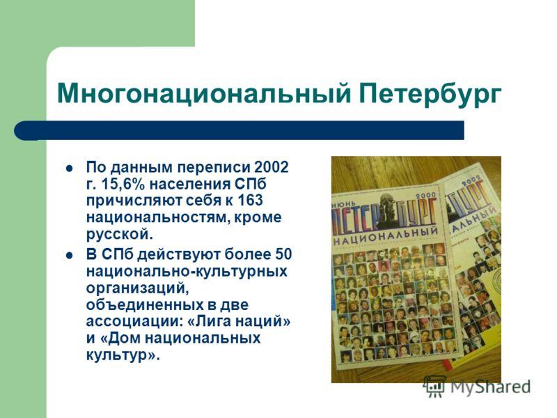 Многонациональный Петербург По данным переписи 2002 г. 15,6% населения СПб причисляют себя к 163 национальностям, кроме русской. В СПб действуют более 50 национально-культурных организаций, объединенных в две ассоциации: «Лига наций» и «Дом националь