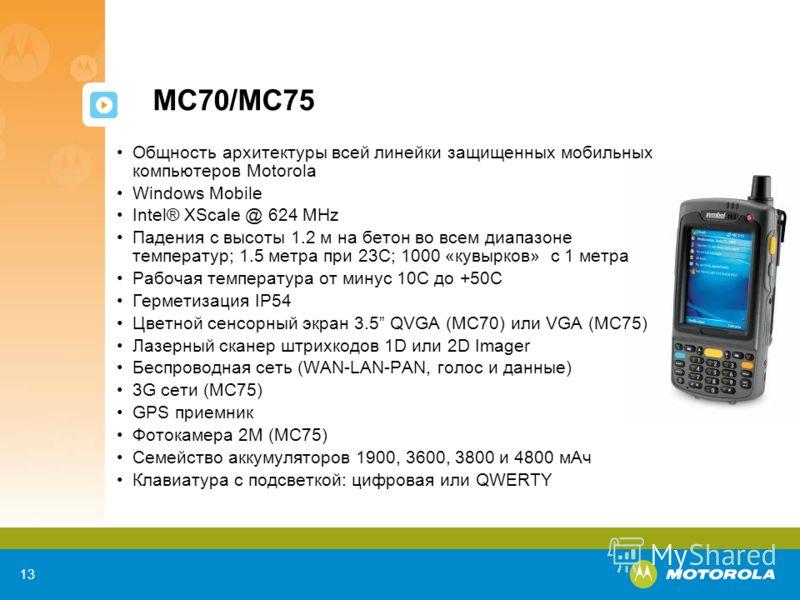 13 MC70/MC75 Общность архитектуры всей линейки защищенных мобильных компьютеров Motorola Windows Mobile Intel® XScale @ 624 MHz Падения с высоты 1.2 м на бетон во всем диапазоне температур; 1.5 метра при 23C; 1000 «кувырков» с 1 метра Рабочая темпера