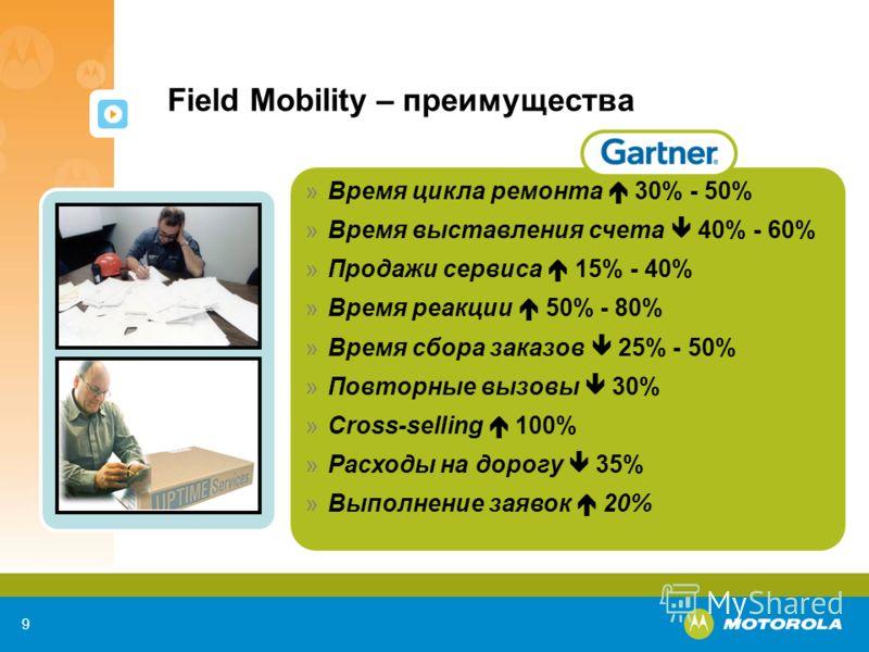 9 Field Mobility – преимущества »Время цикла ремонта 30% - 50% »Время выставления счета 40% - 60% »Продажи сервиса 15% - 40% »Время реакции 50% - 80% »Время сбора заказов 25% - 50% »Повторные вызовы 30% »Cross-selling 100% »Расходы на дорогу 35% »Вып