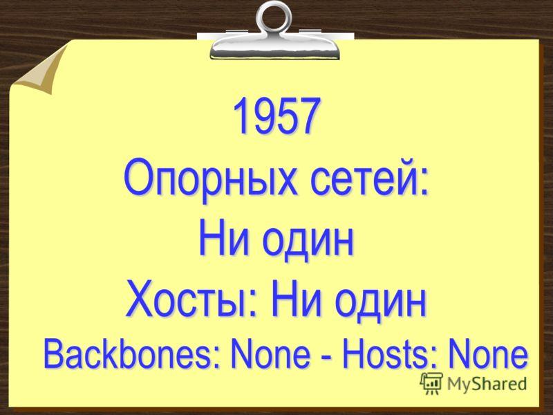1957 Опорных сетей: Ни один Хосты: Ни один Backbones: None - Hosts: None