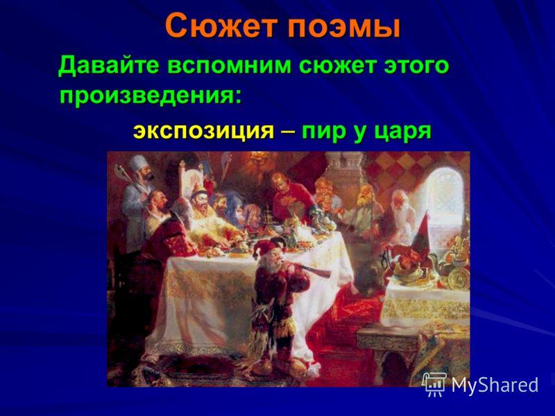 Сюжет поэмы Давайте вспомним сюжет этого произведения: Давайте вспомним сюжет этого произведения: экспозиция – пир у царя