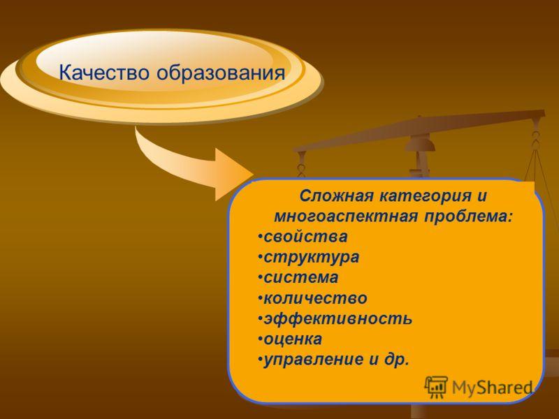 Качество образования Сложная категория и многоаспектная проблема: свойства структура система количество эффективность оценка управление и др.
