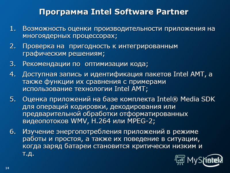 Программа Intel Software Partner Программа Intel Software Partner 1.Возможность оценки производительности приложения на многоядерных процессорах; 2.Проверка на пригодность к интегрированным графическим решениям; 3.Рекомендации по оптимизации кода; 4.