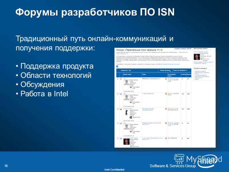 18 Intel Confidential Software & Services Group Форумы разработчиков ПО ISN Форумы разработчиков ПО ISN Традиционный путь онлайн-коммуникаций и получения поддержки: Поддержка продукта Области технологий Обсуждения Работа в Intel