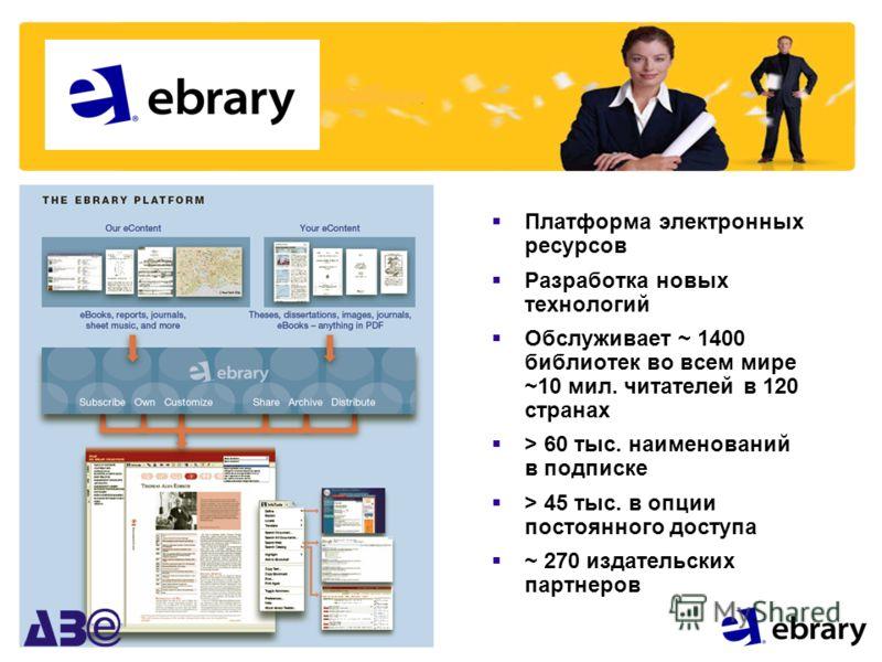 Платформа электронных ресурсов Разработка новых технологий Обслуживает ~ 1400 библиотек во всем мире ~10 мил. читателей в 120 странах > 60 тыс. наименований в подписке > 45 тыс. в опции постоянного доступа ~ 270 издательских партнеров