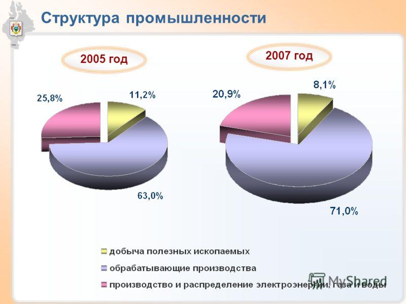 Структура промышленности 2005 год 2007 год