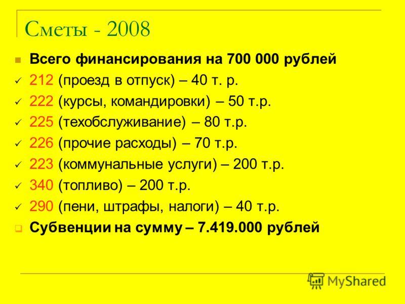 Сметы - 2008 Всего финансирования на 700 000 рублей 212 (проезд в отпуск) – 40 т. р. 222 (курсы, командировки) – 50 т.р. 225 (техобслуживание) – 80 т.р. 226 (прочие расходы) – 70 т.р. 223 (коммунальные услуги) – 200 т.р. 340 (топливо) – 200 т.р. 290