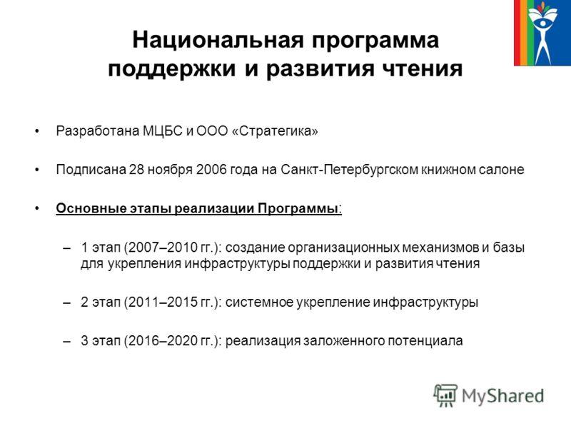 Национальная программа поддержки и развития чтения Разработана МЦБС и ООО «Стратегика» Подписана 28 ноября 2006 года на Санкт-Петербургском книжном салоне Основные этапы реализации Программы: –1 этап (2007–2010 гг.): создание организационных механизм