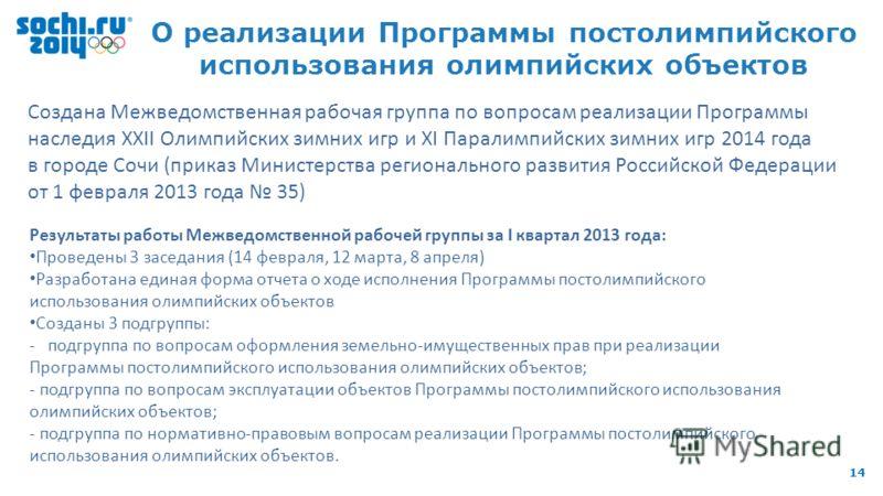 8 th IOC Coordination Commission, 9-11 October 2012, Sochi 14 О реализации Программы постолимпийского использования олимпийских объектов Создана Межведомственная рабочая группа по вопросам реализации Программы наследия XXII Олимпийских зимних игр и X