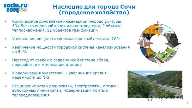 8 th IOC Coordination Commission, 9-11 October 2012, Sochi 7 Наследие для города Сочи (городское хозяйство) Комплексное обновление инженерной инфраструктуры: 53 объекта водоснабжения и водоотведения, 2 объекта теплоснабжения, 12 объектов газификации