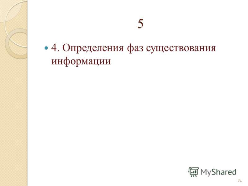 5 4. Определения фаз существования информации 84
