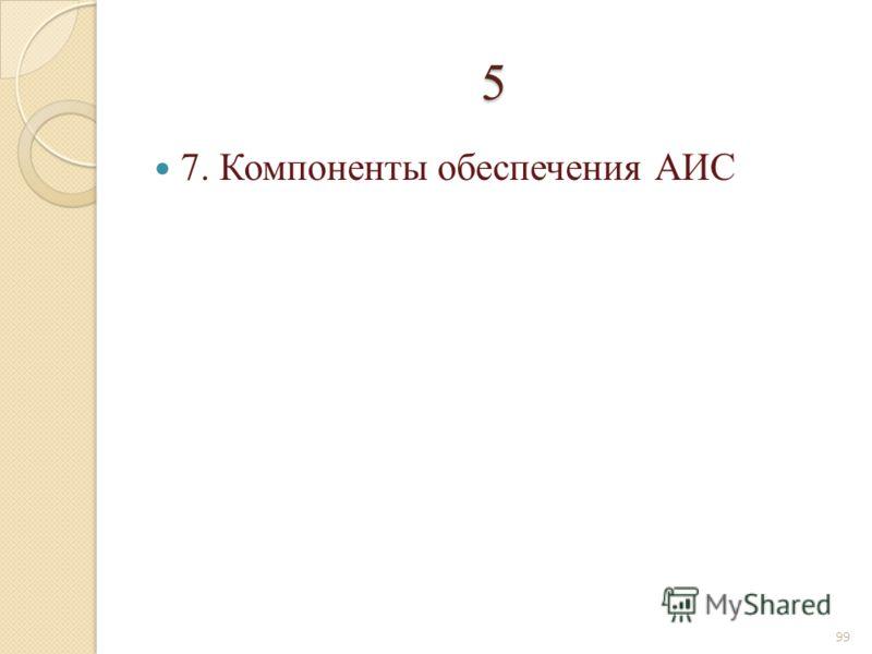 5 7. Компоненты обеспечения АИС 99