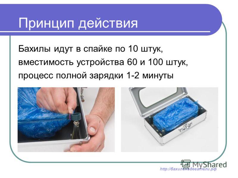 Принцип действия Бахилы идут в спайке по 10 штук, вместимость устройства 60 и 100 штук, процесс полной зарядки 1-2 минуты http://бахилонадеватели.рф
