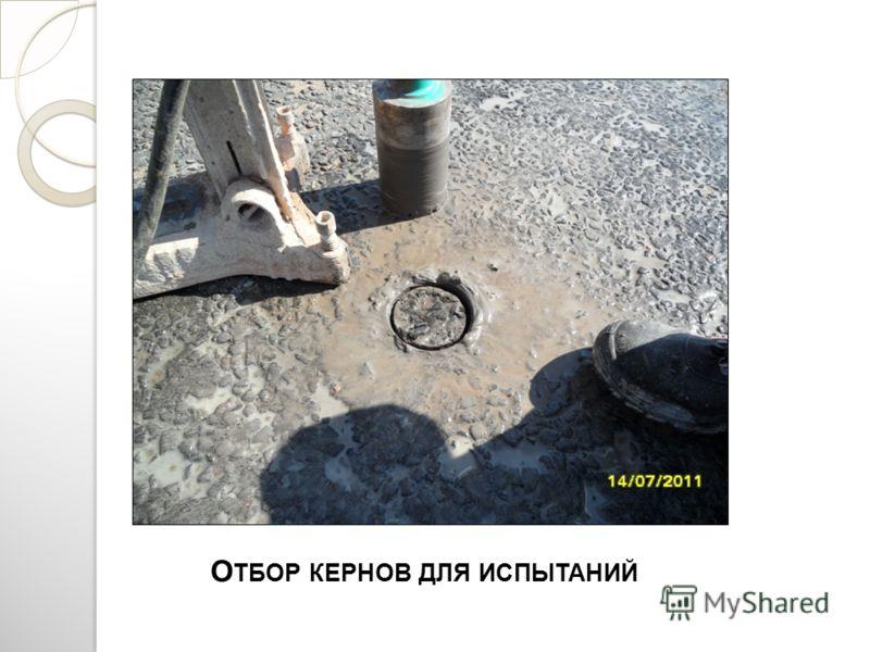 О ТБОР КЕРНОВ ДЛЯ ИСПЫТАНИЙ