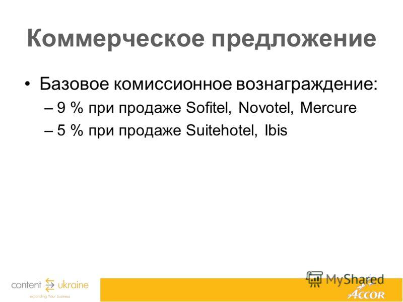 Коммерческое предложение Базовое комиссионное вознаграждение: –9 % при продаже Sofitel, Novotel, Mercure –5 % при продаже Suitehotel, Ibis
