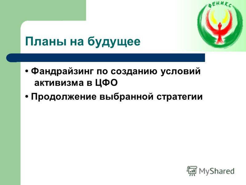 Планы на будущее Фандрайзинг по созданию условий активизма в ЦФО Продолжение выбранной стратегии