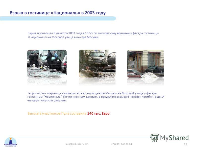 Взрыв в гостинице «Националь» в 2003 году Террористка-смертница взорвала себя в самом центре Москвы на Моховой улице у фасада гостиницы Националь. По уточненным данным, в результате взрыва 6 человек погибли, еще 14 человек получили ранения. Взрыв про