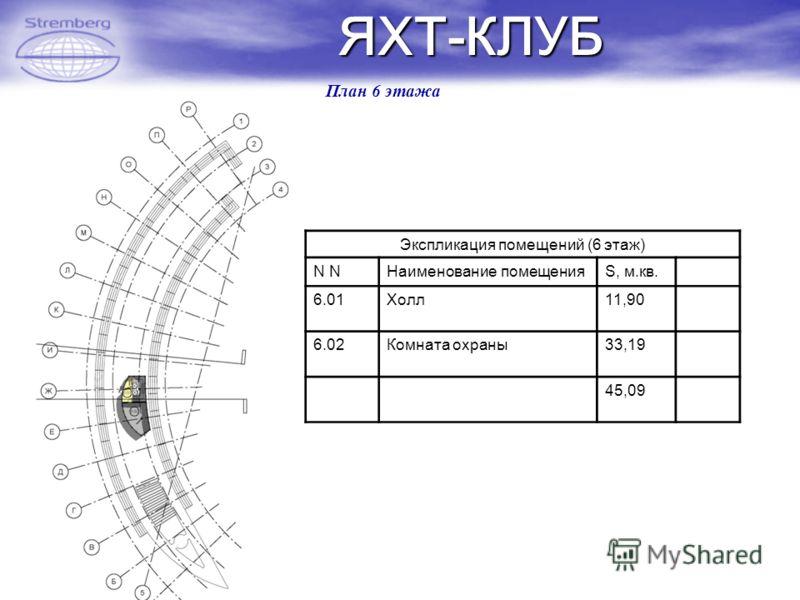 ЯХТ-КЛУБ План 6 этажа Экспликация помещений (6 этаж) N Наименование помещенияS, м.кв.Прим. 6.01Холл11,90 6.02Комната охраны33,19 45,09