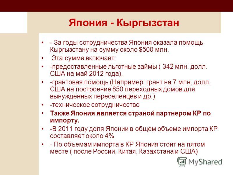 Япония - Кыргызстан - За годы сотрудничества Япония оказала помощь Кыргызстану на сумму около $500 млн. Эта сумма включает: -предоставленные льготные займы ( 342 млн. долл. США на май 2012 года), -грантовая помощь (Например: грант на 7 млн. долл. США