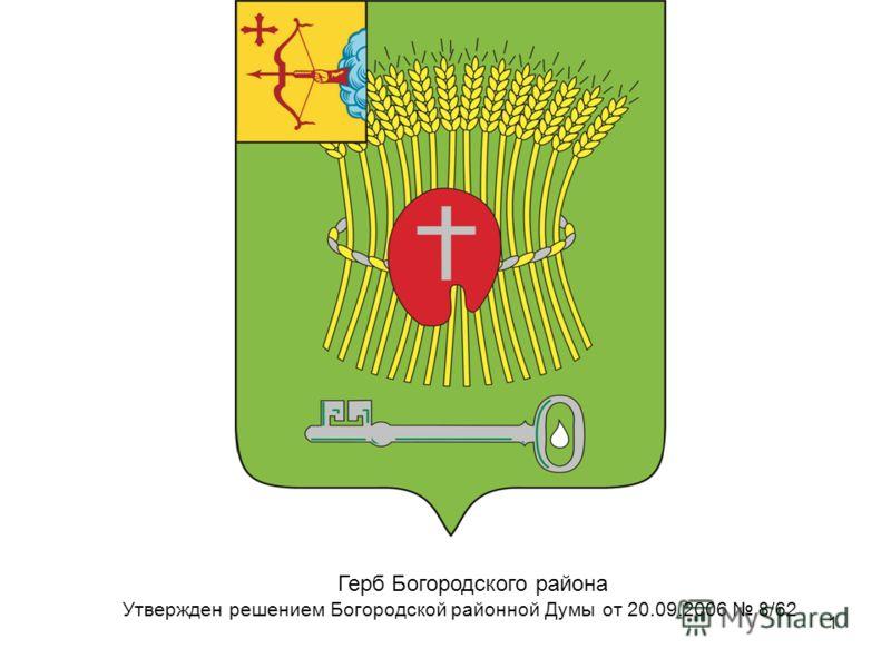 1 Герб Богородского района Утвержден решением Богородской районной Думы от 20.09.2006 8/62