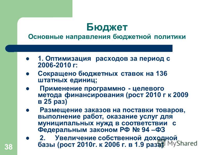 38 Бюджет Основные направления бюджетной политики 1. Оптимизация расходов за период с 2006-2010 г: Сокращено бюджетных ставок на 136 штатных единиц; Применение программно - целевого метода финансирования (рост 2010 г к 2009 в 25 раз) Размещение заказ