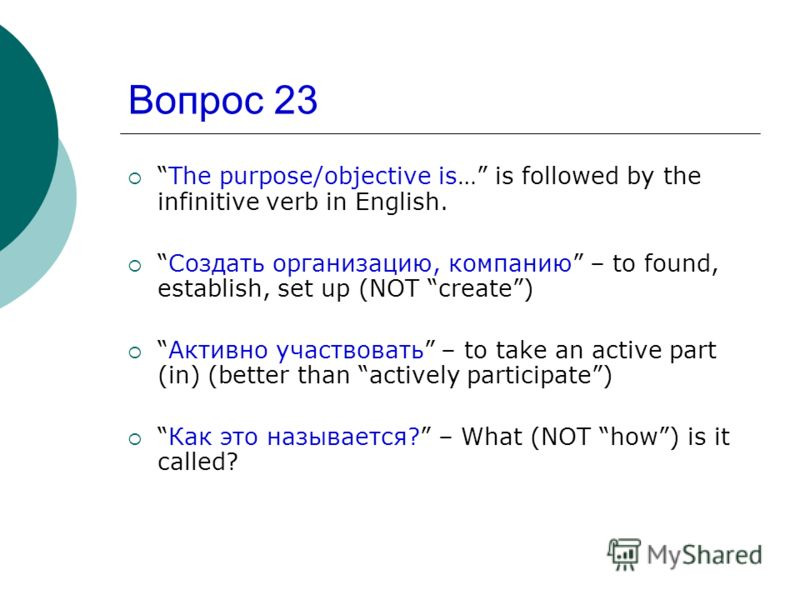 Вопрос 23 The purpose/objective is… is followed by the infinitive verb in English. Создать организацию, компанию – to found, establish, set up (NOT create) Активно участвовать – to take an active part (in) (better than actively participate) Как это н