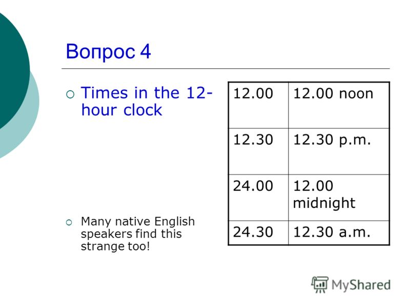Вопрос 4 Times in the 12- hour clock Many native English speakers find this strange too! 12.0012.00 noon 12.3012.30 p.m. 24.0012.00 midnight 24.3012.30 a.m.